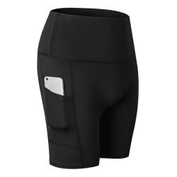 Women High Waist Yoga Shorts black 2XL