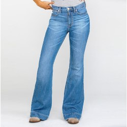 Women High Waisted Stretchy Skinny Jeans Ladies Bootcut Flared Light Blue 4XL