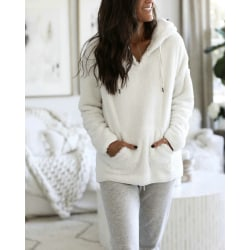 Women Hooded Pullover Tops Long Sleeve Blouse Autumn Winter Coat White S