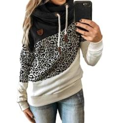 Women Hoodie High Neck Sweatshirt Jumper Ladies Casual Tops Plus Leopard + Black L