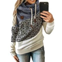 Women Hoodie High Neck Sweatshirt Jumper Ladies Casual Tops Plus Leopard + Blue M