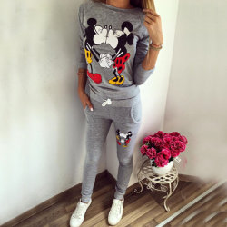 Women Kiss Mickey Mouse Cartoon Sport Casual Home Overalls Grey M