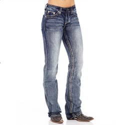 Women Ladies Retro Denim Casual Jeans Straight Leg Bottom Pants Dark Blue L