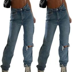 Kvinnor Rippade knäskuren jeans Casual Loose Denim Trouesrs