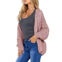 Women Lady Long Sleeve Sweater Cardigan Solid Jacket Top Outwear Pink L