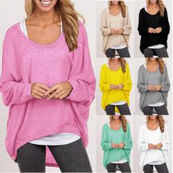 Women Long Sleev Irregular T-shirt Sweater black 2XL