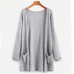 Women Long Sleeve Cardigan Plain Casual Loose Jacket Outwear Light Gray 2XL