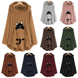 Women Long Sleeve Cute Cat Print Hoodies pink 2XL