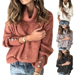 Women Long Sleeve Fashion Knitting High Collar Jumper brickred XL