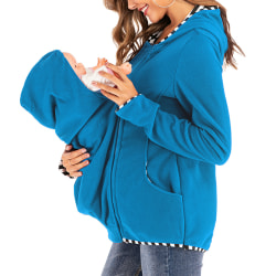 Women Long Sleeve Hooded Breastfeeding Tops Ladies Winter blue S