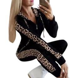 Women Long Sleeve Slim Printed Fashion Casual Lounge Set black M
