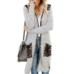 Randig cardiganjacka för kvinnor långärmad, lös stickad tröja leopard 2XL