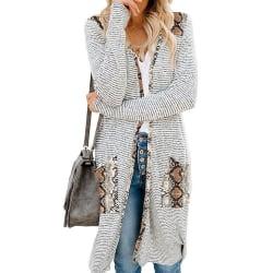 Randig cardiganjacka för kvinnor långärmad, lös stickad tröja ormskinn XL