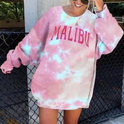 Women Long Sleeve Sweatshirt Tie Dye Casual Crew Neck Pullover Pink 3XL