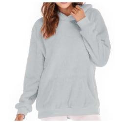 Women Long Sleeve Teddy Fleece Hoodie Sweatshirt Drawstring Gray L