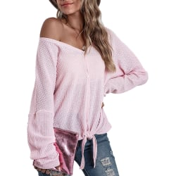 Women Long Sleeve V Neck Button Shirts Casual Knitted Blouse Top Pink 2XL
