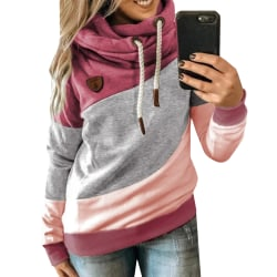 Women Loose Long Sleeve Hooded Casual Patchwork Pullover T-Shirt Red L