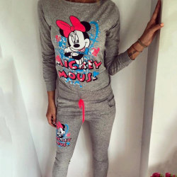 Winter Women Mickey Mouse Print Fashion Disney Hoodies Sets Grey L