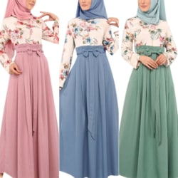 Women Muslim Islamic Floral Maxi Dress Long Sleeve Casual Party Geen S