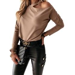 Kvinnor Off Shoulder Halter Vanligt Långärmad Casual Top Blus