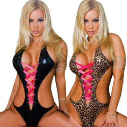 Kvinnor One Piece Sexig Strappy Backless Underkläder Leopard