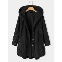 Women Plain Fluffy Plush Coat Outdoor Warm Parka Jacket Outwear Black 3XL