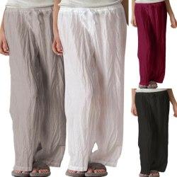 Women Plus Size Palazzo Casual Drawstring Straight Wide Leg White M