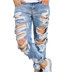 Women Ripped Jeans Denim Bottoms Distressed Straight Long Pants Blue M