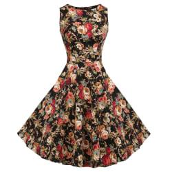 Women's Audrey Hepburn Vintage Dress Vintage Evening Dress black 2XL