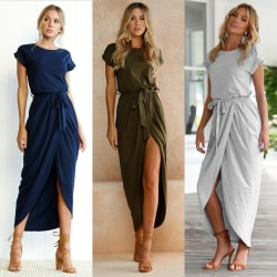 Women's Casual Slit Loose Long Dress Short Sleeve Dress green S