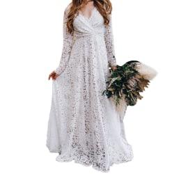 Women's deep V long-sleeved tail-length dress, wedding dress white S