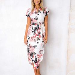 Damklänning sommar casual tryck geometriskt mönster bälte klänning white L