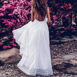 Women's Fashion Dresses Deep V Sexy Halter Dress Long Skirt white S