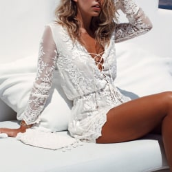 Women's Fashion Sexy Long Sleeve Dress Deep V Short Skirt white S