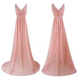 Women's Fashionable Deep V Halter Sexy Slim Chiffon Dress pink XL