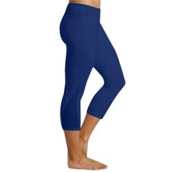 Kvinnors högfärgade yogafitnessbyxor i färg i träningsbyxor blue M