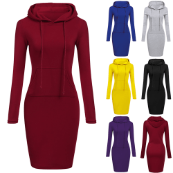 Women's hooded pocket dress, fashionable sweater dress gray M