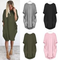 Women's Loose Pocket Long Sleeve Dress Solid Color Skirt Top pink XL