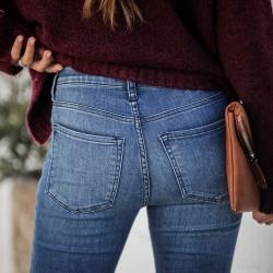 Women's Sexy Fashion Flared Pants Bottom Slim Boot Denim M
