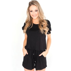 Women's Short Sleeve Casual Jumpsuit Fashion Jumpsuit black S