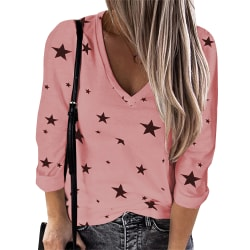 Women's star sweater sexy V-neck pullover loose long sleeves pink L