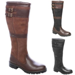 Women's Stitched High Boots Knee High Flat Riding Boots dark brown 40