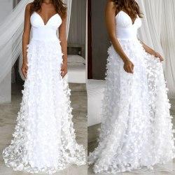 Women's Summer Fashion Sexy Deep V white L