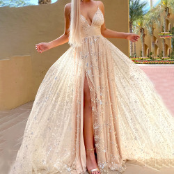 Women's summer new sexy deep V dress split long skirt apricot XL