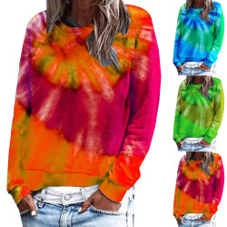 Women's tie-dye round neck long sleeve casual printed top green S