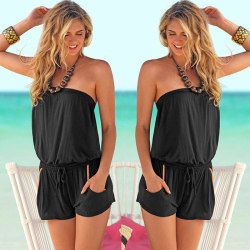 Women's tube top beach jumpsuit solid color fashion jumpsuit black M