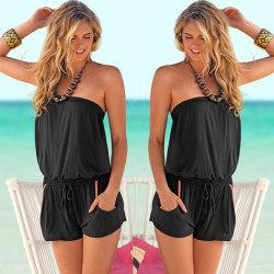 Women's tube top beach jumpsuit solid color fashion jumpsuit black M