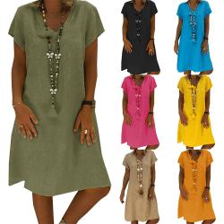 Women's V-neck short-sleeved dress, street style casual skirt orange 4XL