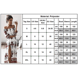Women's Vermilion Flower One Shoulder Split Sexy Long Dress XL