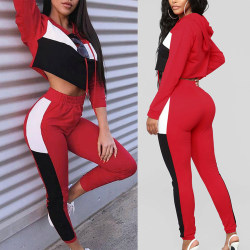 Women Sexy Color Matching Hooded Slim Fit Sports Lounge Set red top S